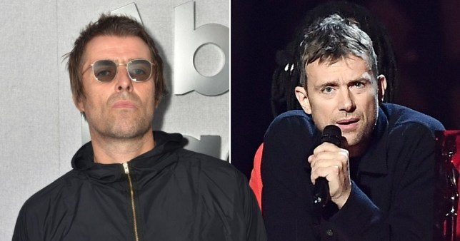 Liam Gallagher pictured alongside Blur's Damon Albarn