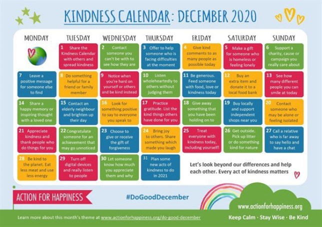 The new December Kindness Calendar by Action For Happiness