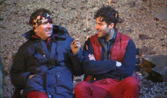 Jordan North and Shane Richie sit in camp