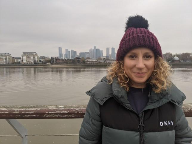 Laura Rowe on a bridge in London
