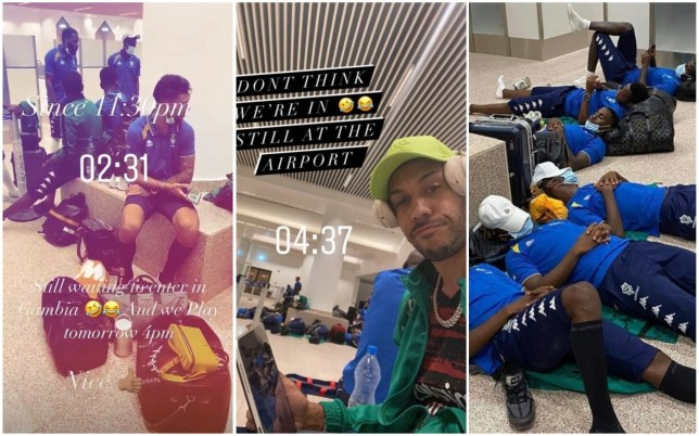 Pierre-Emerick Aubameyang and Gabon's squad were stranded at Gambia's airport