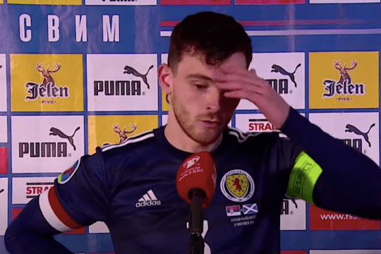 Andy Robertson talks to Sky Sports after Scotland's win over Serbia