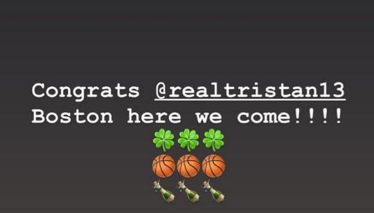Kim Kardashian congratulating Tristan Thompson on Boston Celtics deal