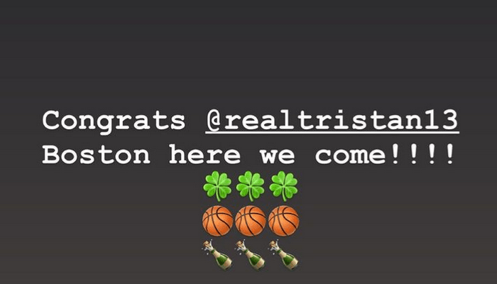 Ким Кардашьян поздравляет Тристана Томпсона с сделкой с Бостон Селтикс