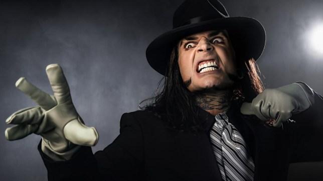 WWE superstar Jeff Hardy dressed as The Undertaker