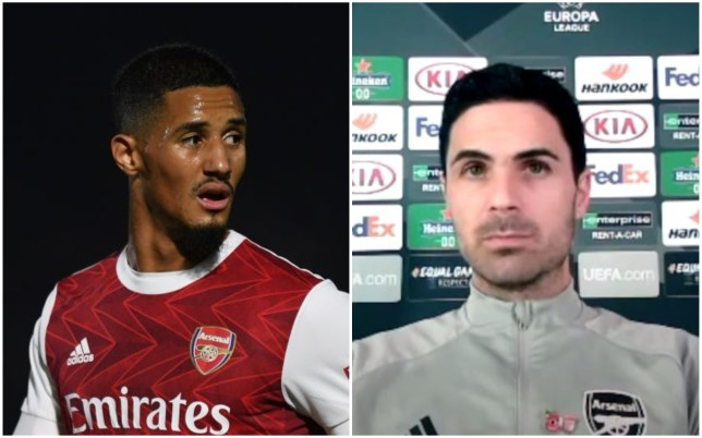 Mikel Arteta says it is painful to see William Saliba struggle for a place at Arsenal