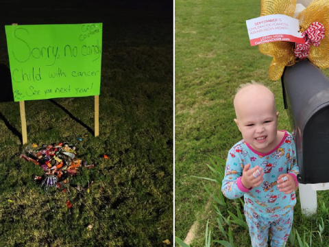 Mum shares heartwarming photo of trick or treat sweets left for shielding child with cancer