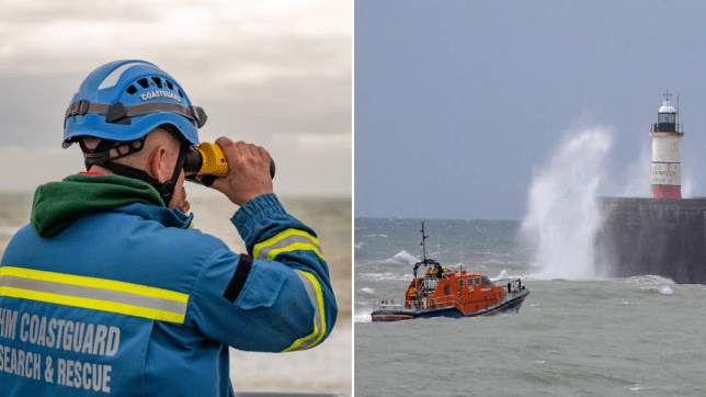 Coastguard and RNLI crews searching for the missing people aboard the Joanna C fishing boat