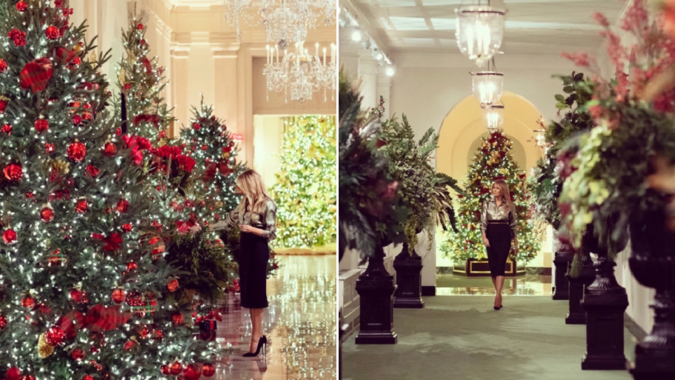 Melania Trump with the White House Christmas decorations