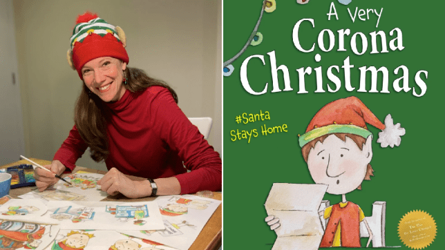 kelley Donner with her book, a Very Corona Christmas