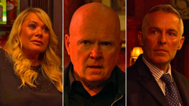 Sharon, Phil and Thompson in EastEnders