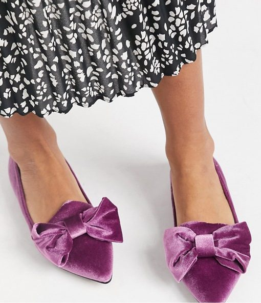 Velvet purple pointed flats with bow