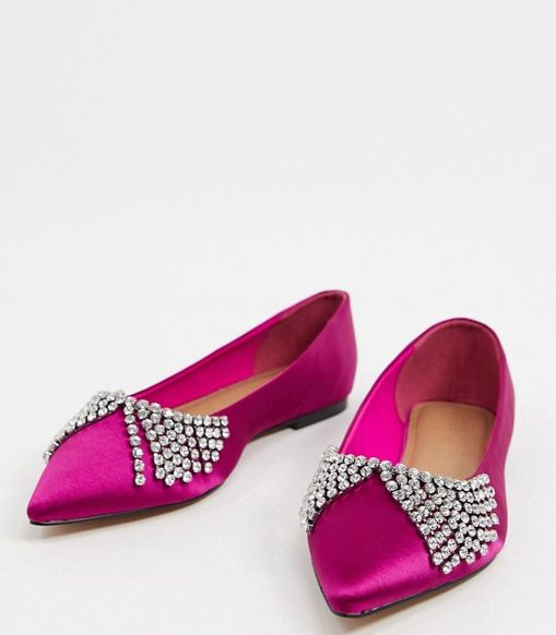 Bright pink embellished pointed pumps