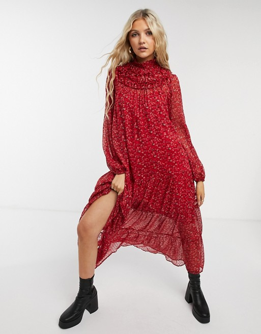 Red shirred swing max dress from ASOS