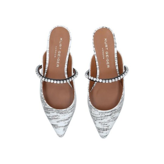 White and grey embellished flats