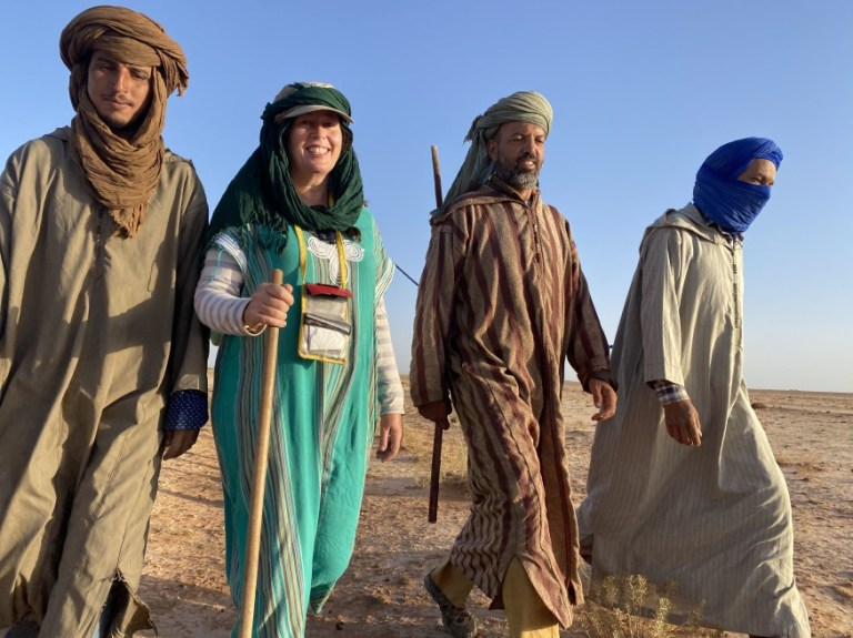 Alice Morrison trekking across Morocco with three guides