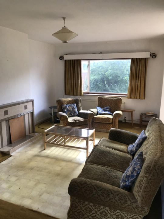 living room of 1960s house before renovation