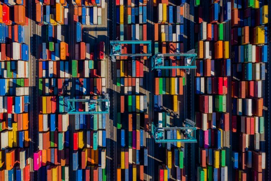 Aerial perspective of a container port, Virginia, United States of America