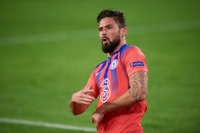Olivier Giroud scored all four goals in Chelsea's win over Sevilla in the Champions League