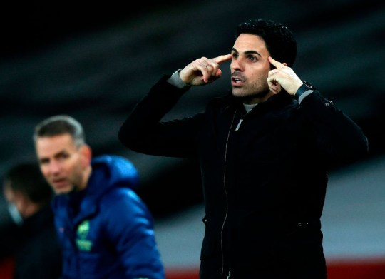 Arsenal's Spanish manager Mikel Arteta gestures during the English League Cup quarter final football match between Arsenal and Manchester City at the Emirates Stadium, in London on December 22, 2020.
