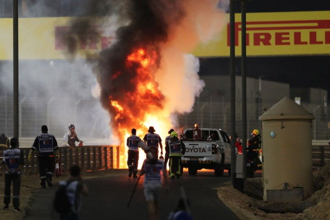 A fireball erupts after Formula One star Romain Grosjean's crash at the Bahrain Grand Prix