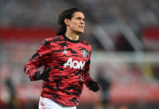 Edinson Cavani looks on ahead of Manchester United's Premier League clash with Wolves