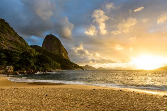 Praia Vermelha Beach near Sugar Loaf Mountain in Rio de Janeiro, Brazil