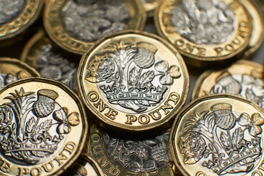 UK pound coins close-up