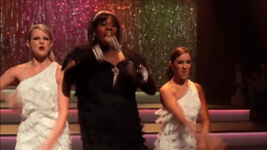 Janette Manrara on Glee with Alex Newell