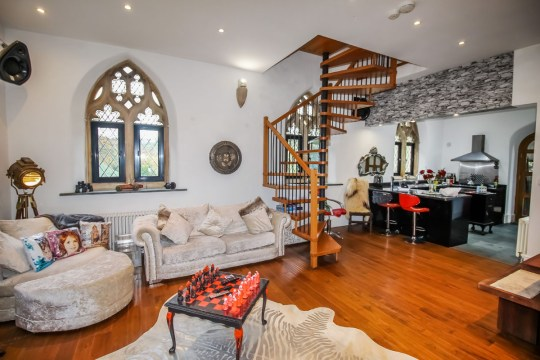 living room in converted chapel
