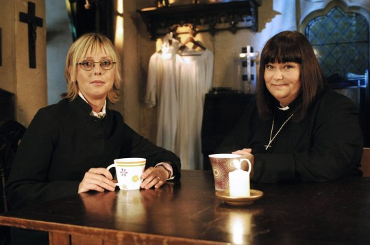 Dawn French as Geraldine and Emma Chambers on vicar of dibley