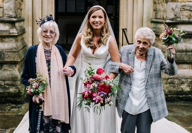 Megan with her grandmas, Mary Kennedy, 90, and Gillian Holloway, 80