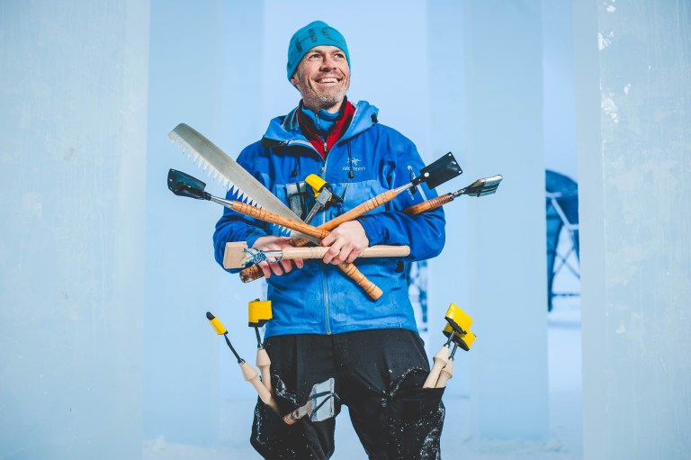 Icehotel's creative director Luca Roncoroni with his work tools (Picture: Asaf Kliger)