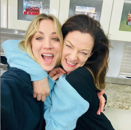 Michelle Gomez and Kaley Cuoco take a selfie on The Flight Attendant set