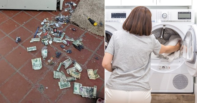 tumble dryer washing machine filled with money and junk