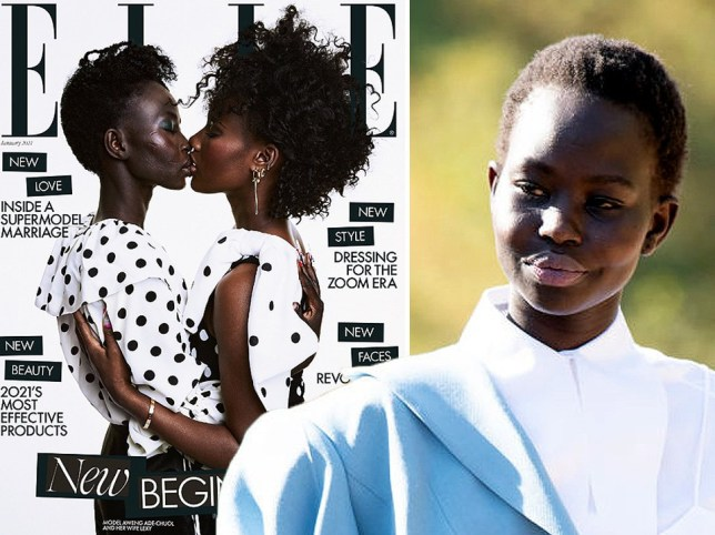 Model Aweng Ade-Chuol kisses her wife on cover of ELLE UK after homophobic abuse