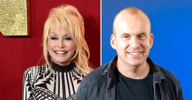 Dolly Parton and Matt Haig on red and blue backgrounds