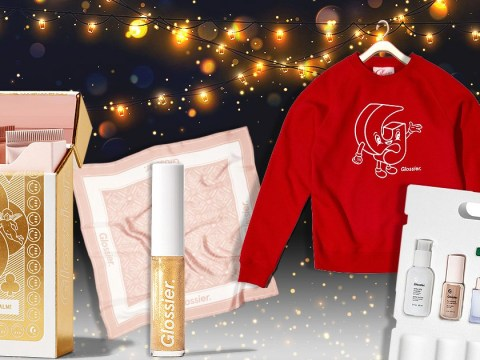 Glossier's Christmas gifting collection includes a sweatshirt and sparkly lip gloss