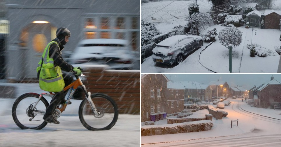 Composite image snow in the UK