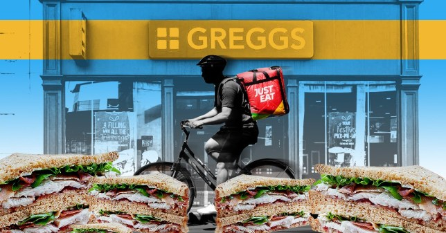 Greggs shop front alongside a Just Eat delivery bike and sandwiches