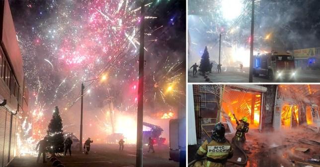 L'incendie a envoyé des feux d'artifice dans le ciel