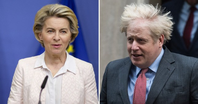 Caption: Mandatory Credit: Photo by Nicolas Landemard/Le Pictorium Agency via ZUMA/REX (11317013h) European Commission President Ursula von der Leyen makes a press statement after the telephone call with British Prime Minister Boris Johnson EU Commission President Ursula Von Der Leyen delivers statement on Brexit, Brussels, Belgium - 05 Dec 2020