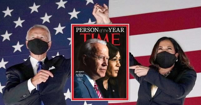 Joe Biden and Kamala Harris and the Time Magazine cover in which they are named Person of the Year 2020