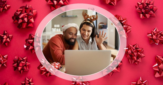 Couple enjoying a digital Christmas in front of a laptop