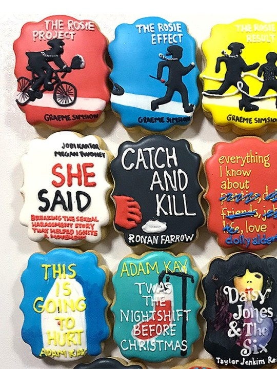 Biscuits with book covers on them