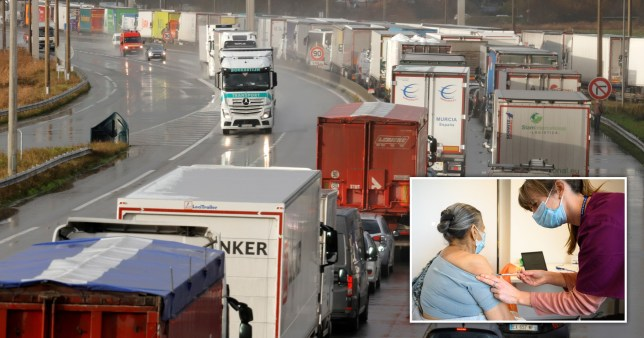 Lorries lined up in the road and a woman receiving the Covid vaccine