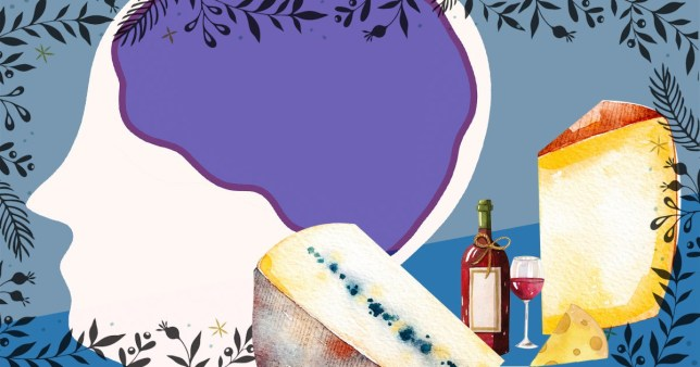 illustration of brain, cheese and wine