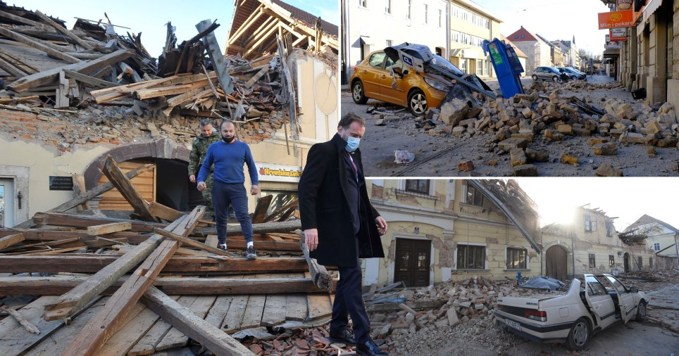 Une épave à Petrinja après un séisme de magnitude 6,4 a fait de nombreuses personnes blessées et des maisons détruites