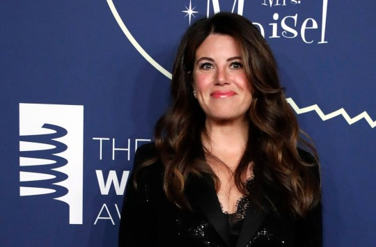 Monica Lewinsky poses on a red carpet