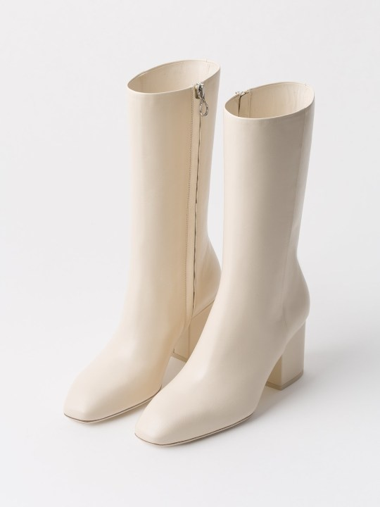 Camille Charriere and shoe brand aeyde Sixties high ankle boot in white